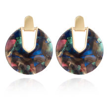 New Fashion Geometric Acrylic Statement Drop Earrings For Women Personality Acetic Acid Resin Dangle Hanging Earring Jewelry(China)