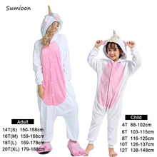 Pijama Kigurumi conejo Niño Unicornio Pijama Animal Panda Stitch Oneise niños Pijama Unicornio invierno mujer ropa de dormir monos(China)