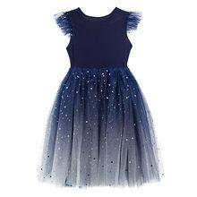 Свадебные Платья с цветочным узором для девочек; Элегантные бальные платья с градиентом Королевского синего цвета; Платье принцессы с блес...(China)