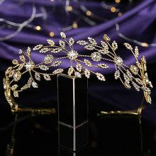 Casque et couronne HADIYANA élégant feuilles Design Wircon femmes mariage fête cheveux accessoires BC4653 accessoires para el cabello(China)