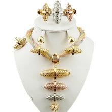 אפריקה מתנת כלה דובאי תכשיטי זהב סטי תכשיטים אופנה נשים גדול שרשרת צמיד עגילי סט(China)