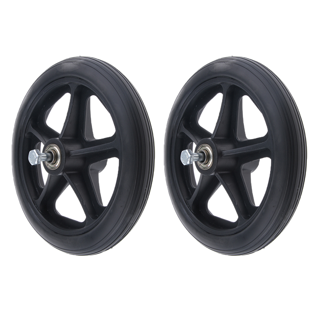 2pcs Non-slip Wheelchair Caster Wheel Replacement Parts Solid Tires Front Wheel for Wheelchairs - 7 inch 5/16 Bearing