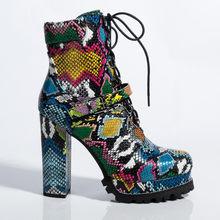 Prova Perfetto kadın platformu Bootie yeşil yılan derisi yarım çizmeler kış ayakkabı kadın yuvarlak ayak yüksek topuk seksi bayanlar ayakkabı(China)