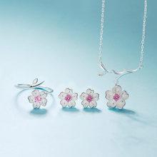 Romantische 925 Sterling Silber Kirschblüten Blume Schmuck Sets Anhänger Nette Braut Hochzeit Sets(China)