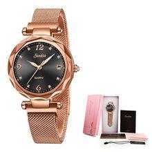 SUNKTA, роскошные женские часы, магнитные женские часы, кварцевые наручные часы, модные женские часы, reloj mujer relogio feminino + коробка(China)