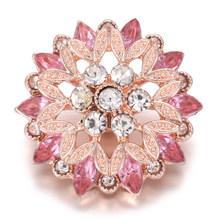 6 Pcs/lot 2020 Terbaru Snap Perhiasan Campuran Mawar Emas Berlian Imitasi Cinta Jantung Bunga 18 Mm Snap Tombol untuk Snap Gelang kalung(China)