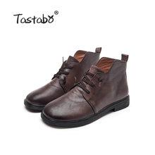 Tastabo 2019 Mùa Thu Và Mùa Đông Cao-TOP Nữ Giày Dép Gót Thấp Hàng Ngày Giày S98056 Nâu Retro phong Cách Giày Bốt Nữ(China)