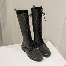 Nữ Thu Đông Đầu Gối Cao Ủng Giày Thời Trang Nữ Kim Cương Giả Giày Giữa Gót Giày Ủng Nữ Giày Nữ Mujer(China)