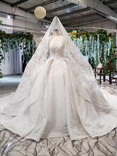 HTL817 יוקרה חתונה שמלת שרוול ארוך v-צוואר אפליקציות כפתור חזרה כבד עבודת יד עם כלה צעיף robe דה mariee(China)