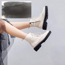 AIYUQI Martin Stiefel Weibliche 2019 Herbst Neue Echtem Leder frauen Booties Lace Up Weiß winter frauen schuhe(China)