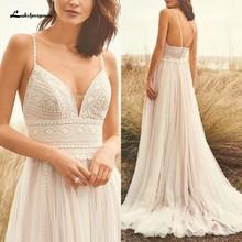 Свадебное платье на бретельках в стиле бохо, кружевное свадебное платье цвета шампанского с v-образным вырезом 2020, белое платье принцессы de ...(China)