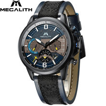 MEGALITH Watches Men Sport Waterproof Watch Top Brand Luxury Military Leather Strap Quartz Watch For Men Chronograph Clock 8083m(China)