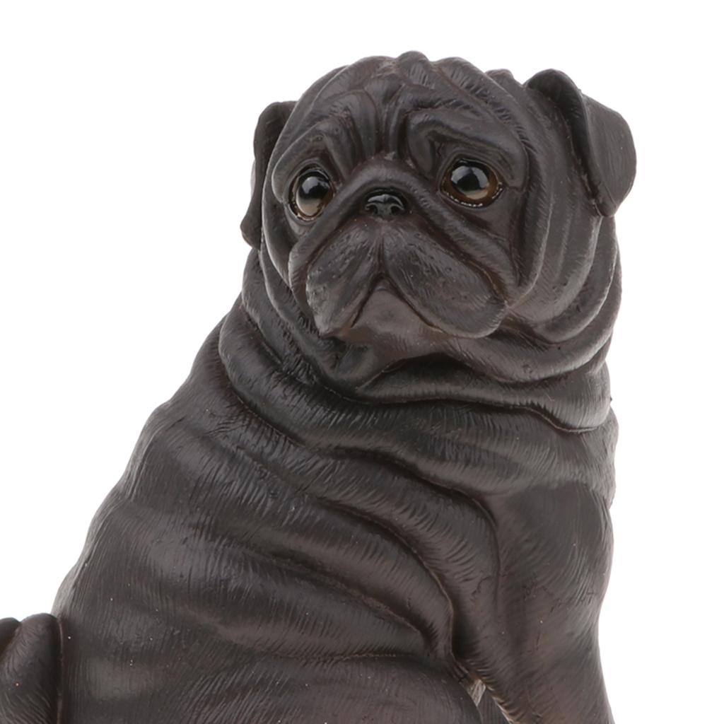 10.8cm Lifelike Dog Model Figurines Kids Toy Gift Home Office Decor - Black Pug