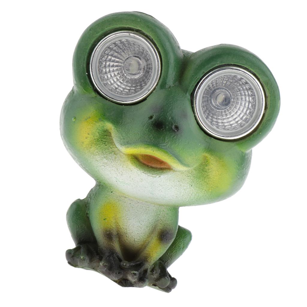 Solar Powered Outdoor Green Frog Statues Accent Lighting LED Garden Light Decor