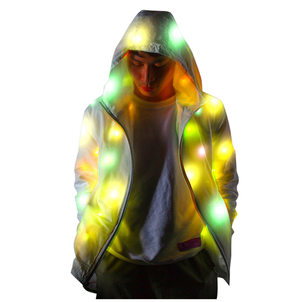 Mens Womens Glowing Jacket Led Colorful Luminous Club Jacket Coats Hooded Cool Zipped Night Party Clothing