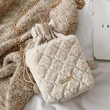 SUNNY SHOP модная сумка-мешок сумка на плечо женская сумка с цепочкой сумка через плечо зимняя с мехом форма коробки(China)