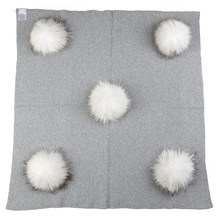 Geebro Newborn Warm Wool Swaddling Blanket With 15cm Real Raccoon Fur Pompom Kids Baby Travel Sleeping Blanket Bedding(China)