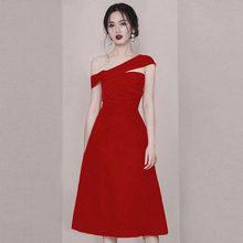 Красное официальное платье для женщин Элегантный 2019 Осень модные женские туфли элегантный для выпускного вечера платья Простой вечернее п...(China)