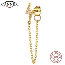 1 قطعة 925 فضة كريستال الزركون سلسلة القرط للنساء الذهب الفضة اللون قوس قزح القمر ستار تشيكوسلوفاكيا أقراط الأذن مجوهرات(China)