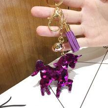 2020 bonito chaveiro glitter lantejoulas coração chaveiro feminino llaveros mujer saco do carro acessórios anel chave jóias sleutelhanger(China)
