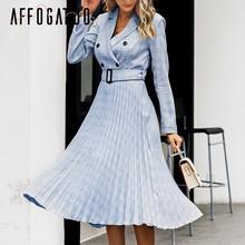 Affogatoo אלגנטי כפתור חגורת משובץ נשים בלייזר שמלה סקסי צווארון v קפלים משרד גבירותיי שמלה ארוך שרוול נשי מסיבת שמלות(China)