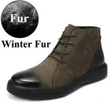 Erkek Botları Kış Kürk Ile 2019 Deri rahat ayakkabılar Erkekler Sıcak kar botu Erkek Kauçuk Ayak Bileği Footwera Botas Hombre Artı Boyutu 47(China)