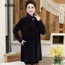 XJXKS lungo Delle Donne di lana del cappotto 2019 di inverno caldo di alta-end comfort visone cashmere a collo alto allentato plus size cardigan delle donne cappotto(China)