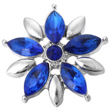 6 sztuk/partia DIY kryształ kwiat zatrzaski biżuteria Fit 18mm zatrzask metalowy przycisk biżuteryjny bransoletka Zrób To Sam(China)