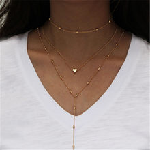 2019 Bohemian Multilayer Crystal Moon Stars Necklaces & Pendants For Women Vintage Charm Gold Choker Necklace Jewelry Wholesale(China)
