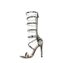 Модные женские сандалии-гладиаторы в западном стиле; Цвет черный, белый; принт змеиной кожи; открытые туфли-лодочки на высоком каблуке с отк...(China)