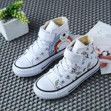 בד ילדים של נעלי קריקטורה גרפיטי ילדים סניקרס קשת נעליים יומיומיות עבור בנות ילדים נוחים דירות Tenis צעצוע(China)
