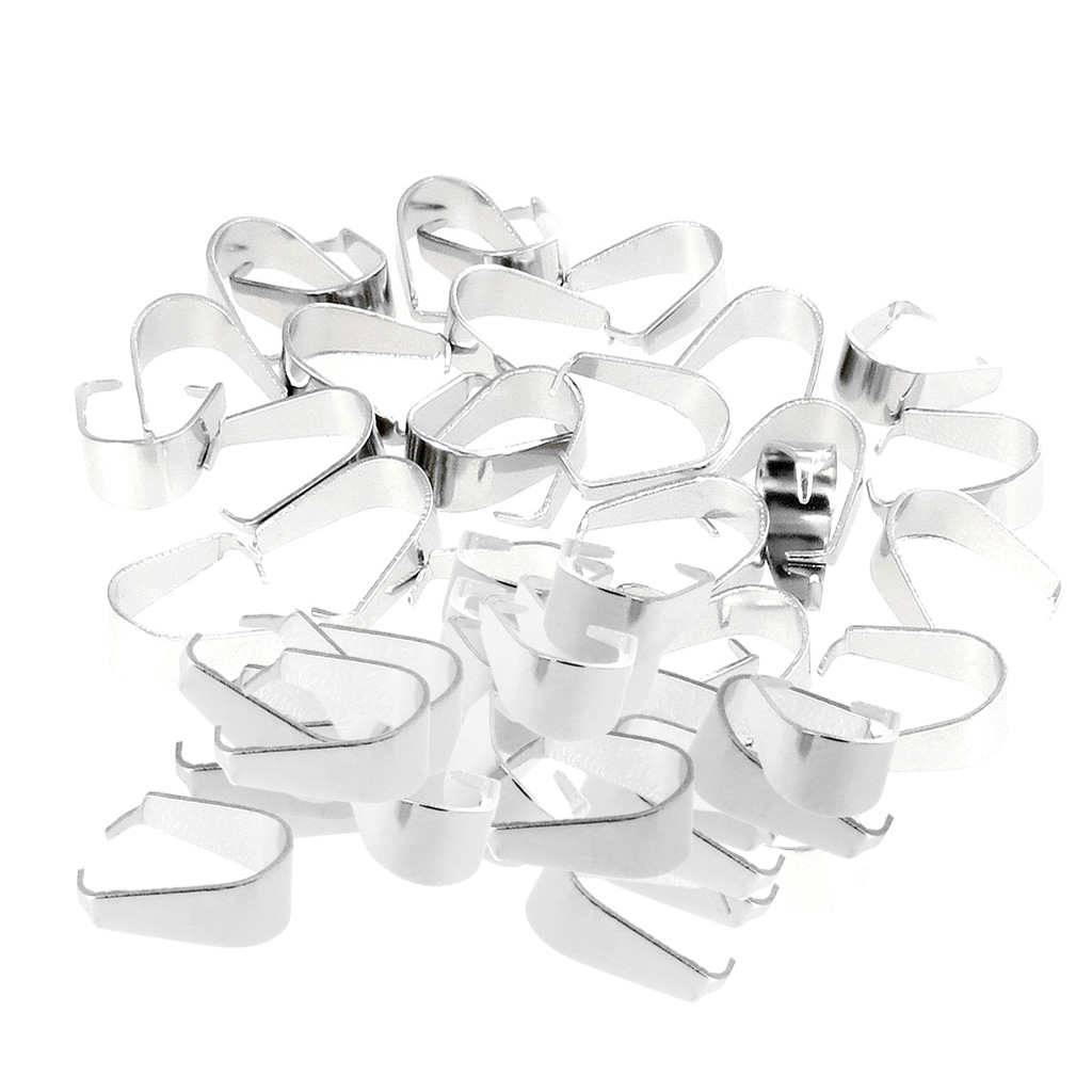 100 Pieces Silver Metal Pendant Pinch Bails for DIY Necklace Jewelry Making 9mm