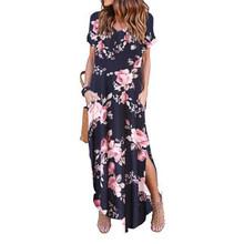 Sexy femmes robe grande taille 5XL été 2019 solide décontracté manches courtes Maxi robe pour femmes longue robe livraison gratuite robes de dame(China)