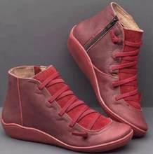 Frauen Winter Schnee Stiefel PU Leder Ankle Frühling Flache Schuhe Frau Kurze Braun Botas mit Pelz 2020 für Frauen Spitze up Botas Mujer(China)