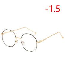 Неправильный многоугольник, очки для близорукости с градусом, женские прозрачные зеркальные металлические очки для близорукости SPH-0,5-1,0 до...(Китай)