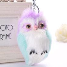 Chaveiro de pelúcia bonito coruja pingente bola de cabelo fofo sino imitação coelho cabelo boneca brinquedo menina saco chave pingente wj303(China)