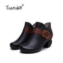 Tastabo manuel hakiki deri yüksek topuk kadın çizmeler siyah kahverengi Vintage doku S3655-5 rahat kadın ayakkabısı günlük ayakkabı(China)