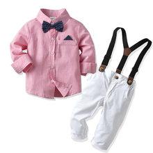 2018 tiền mới thun Bé Trai tay dài mặt dây chuyền thắt nơ quần Quần phù hợp với Trẻ Em Gentry phù hợp với 2 3 4 5 6 7 8 tuổi(China)