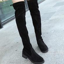 LZJ 2019 Ince Çizmeler Seksi Kış Diz Yüksek Süet Yeni kadın Moda Rahat Sıcak Uyluk Yüksek Çizmeler Kışlık Botlar kadın(China)