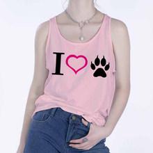 2020 kadın yelek tankı üstleri CamisoleFashion köpek pençe baskı çift t-shirt Streetwear Harajuku rahat kolsuz beyaz büyük boy(China)