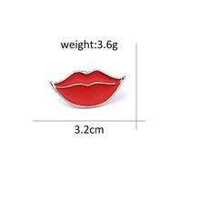 Fashion Seksi Bibir Merah Enamel Pin Bros untuk Wanita Kartun Lipstik Bros Lencana Denim Aksesoris Lapel Pins Wanita Pria Perhiasan(China)