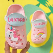 תינוקת קריקטורה חד קרן פעוט חוף מים גן כפכפים ילדים ילד מערת נעלי ילדי קיץ כפכפים מקורה חמוד סנדלי(China)