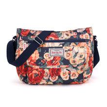 Mulher Sacos de Nylon Sacos Do Mensageiro Ocasional senhoras Floral Impressão bolsa de Ombro Único Senhora Elegante Flor Bolsa Multi-bolso Totes Saco(China)
