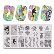 BeautyBigBang Nail Art Stempelen Platen Gezicht Scrawl Lip Bloem Afbeelding Rechthoek Nail Art Stamp Template Mold Nail Stencil XL-096(China)