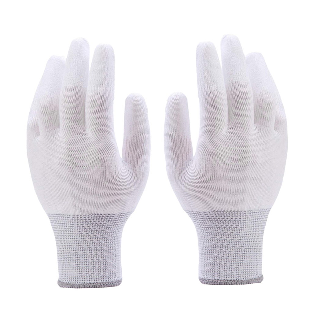 1 Pair Of Nylon Gloves Work Gloves Garden Gloves With PU-coated Fingers For Construction Workers, Gardeners, Etc, L Size