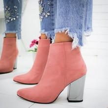 PUIMENTIUA avrupa sivri burun kız çizmeler akın katı kadın katı çizmeler çizmeler sonbahar kış 2019 yeni yüksek topuklu ayakkabılar(China)
