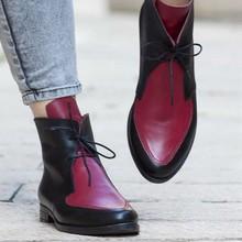 Kışlık botlar kadın platformu kar yarım çizmeler Lace Up toka ayakkabı kalın topuk kısa çizme bayanlar rahat ayakkabılar Zapatos De Mujer(China)