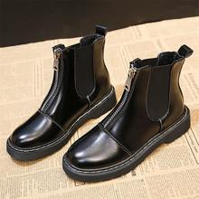 Kadın PU deri kış çizme kadın siyah yarım çizmeler Punk dantel motosiklet botları kadın sonbahar kış ayakkabı kadınlar için(China)