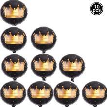 5/10 pçs 18 Polegada coroa de ouro balões redondo princesa folha preta baloons casamento aniversário do chuveiro do bebê festa decoração globos(China)