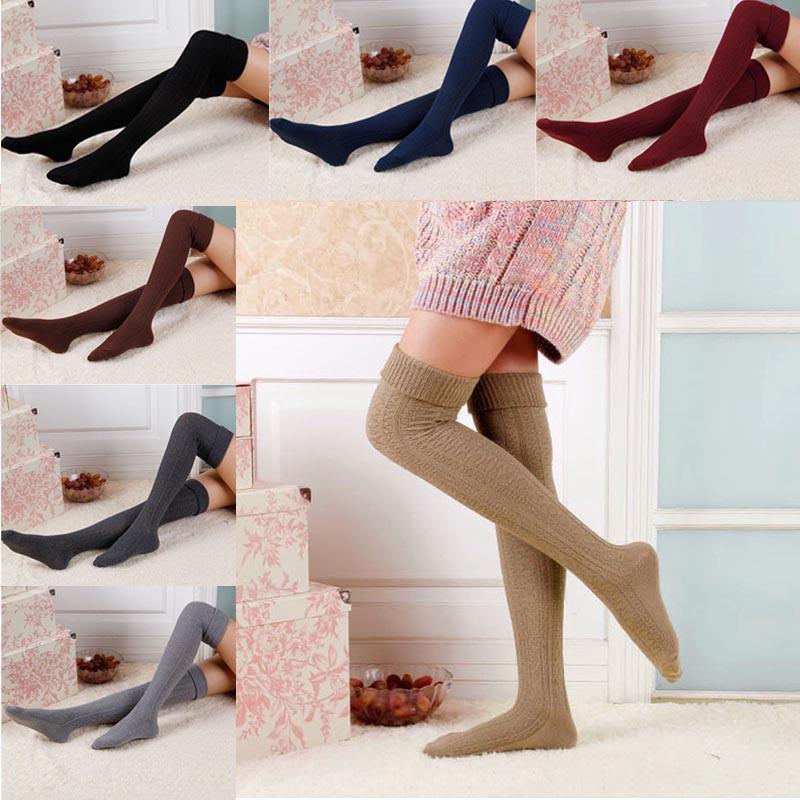 For Women Girls Winter Long Leg Warmers Knit Crochet Socks Legging Stocking
